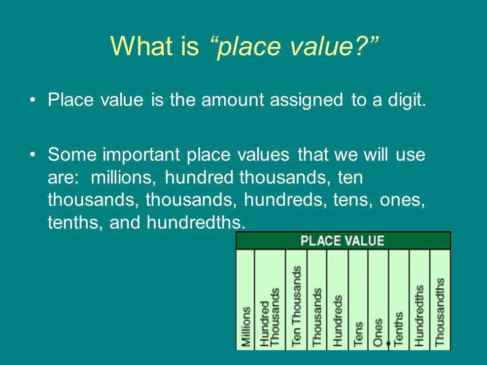 What is place value Place value is the amount assigned to a digit.