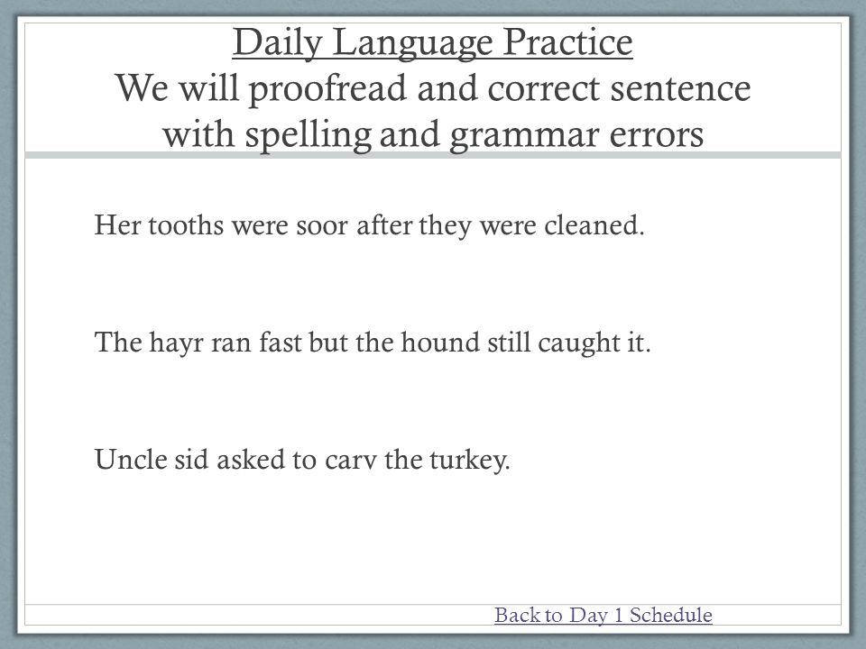 Daily Language Practice We will proofread and correct sentence with spelling and grammar errors