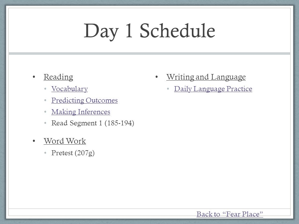 Day 1 Schedule Reading Word Work Writing and Language Vocabulary
