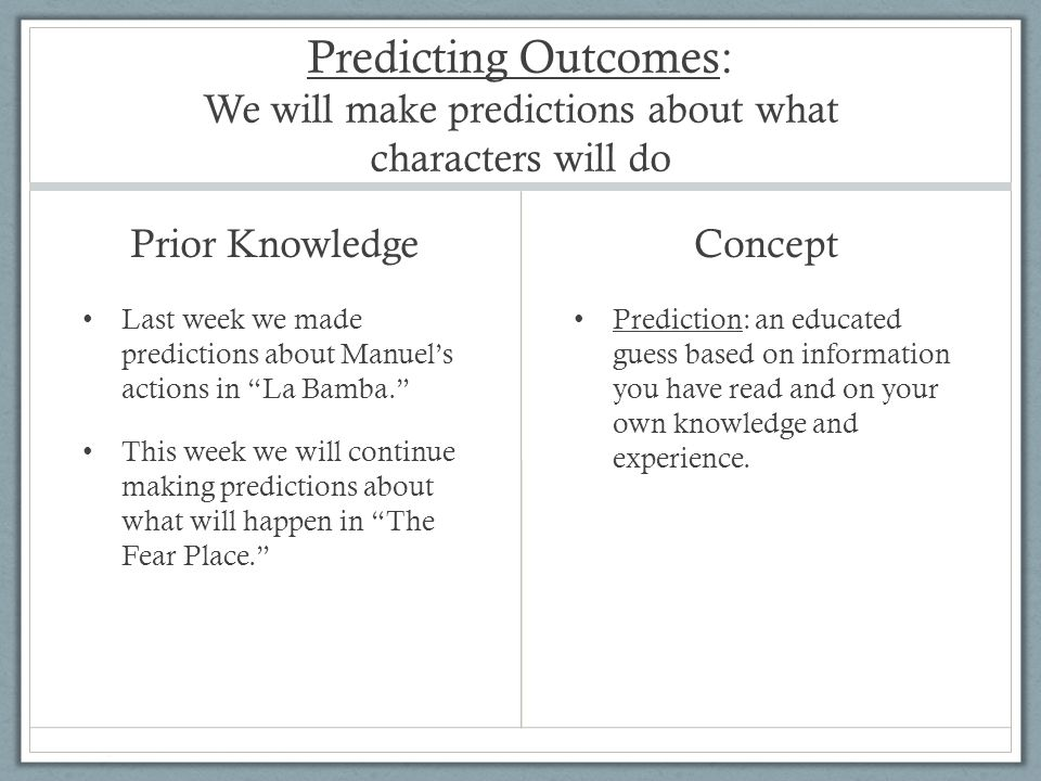 Predicting Outcomes: We will make predictions about what characters will do