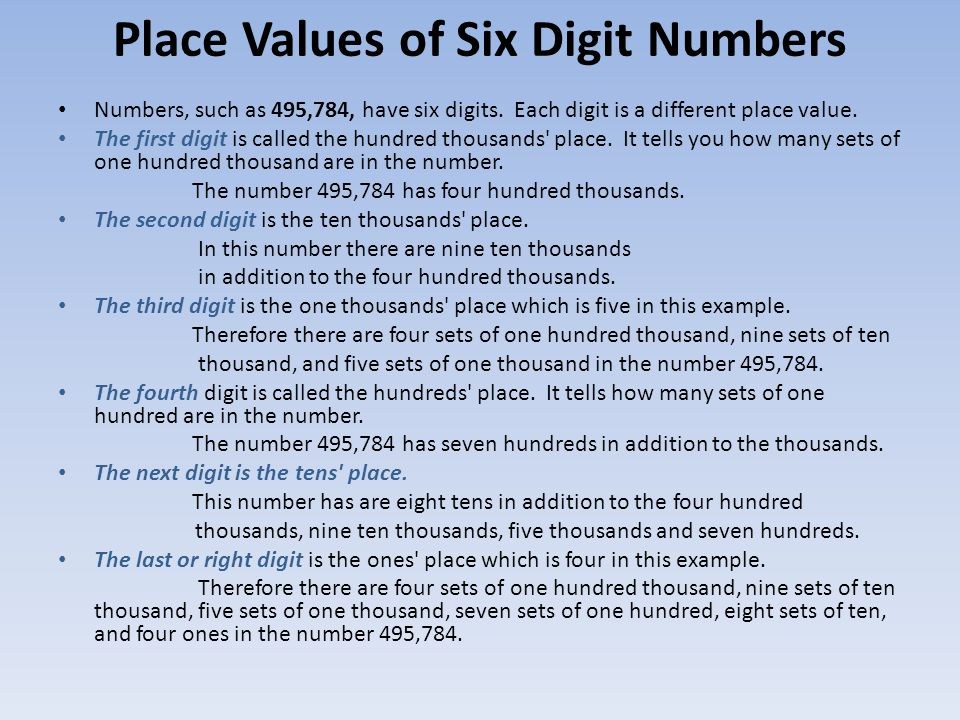 Place Values of Six Digit Numbers