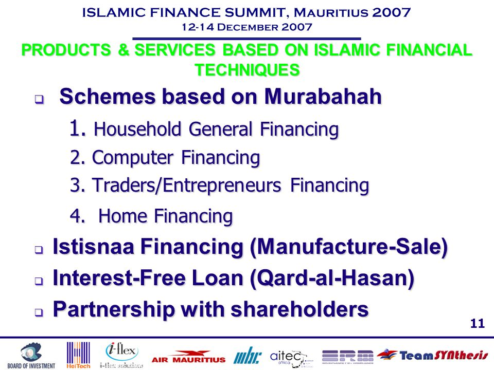 PRODUCTS & SERVICES BASED ON ISLAMIC FINANCIAL TECHNIQUES