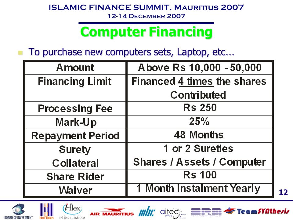 Computer Financing To purchase new computers sets, Laptop, etc...