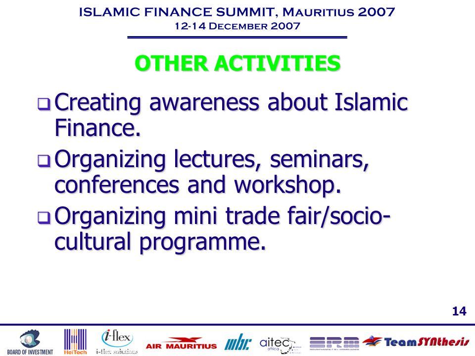 Creating awareness about Islamic Finance.