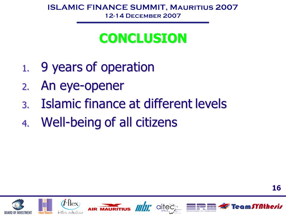 Islamic finance at different levels Well-being of all citizens