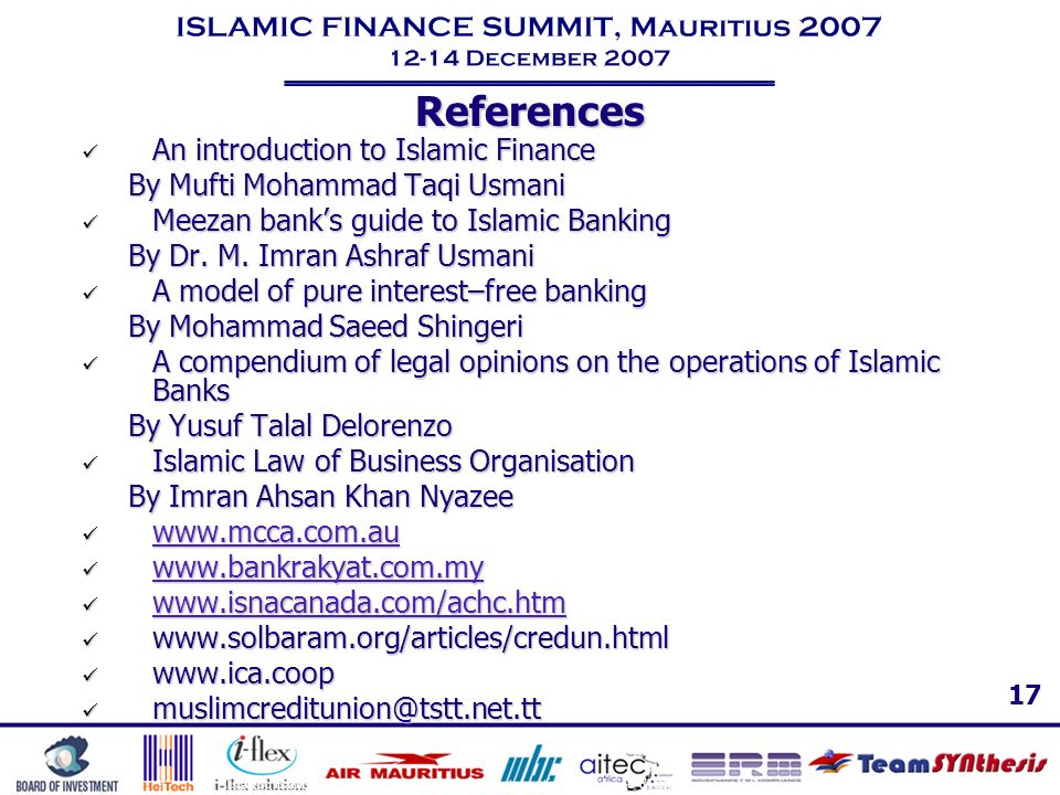 References An introduction to Islamic Finance