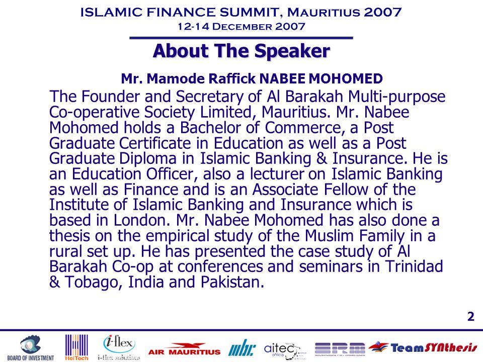 Mr. Mamode Raffick NABEE MOHOMED