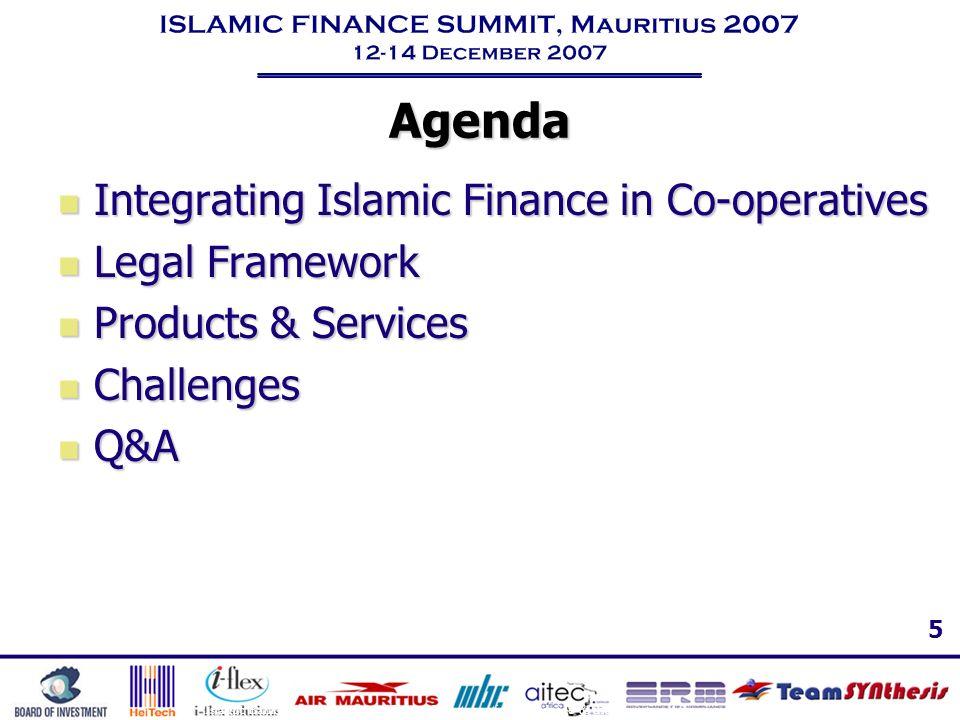 Agenda Integrating Islamic Finance in Co-operatives Legal Framework