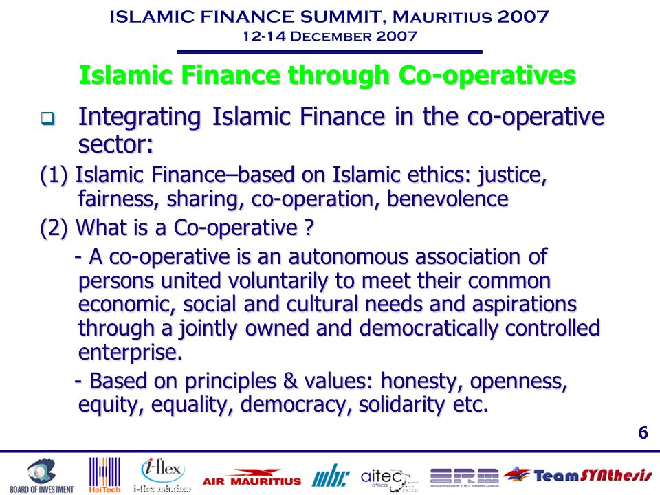 Islamic Finance through Co-operatives
