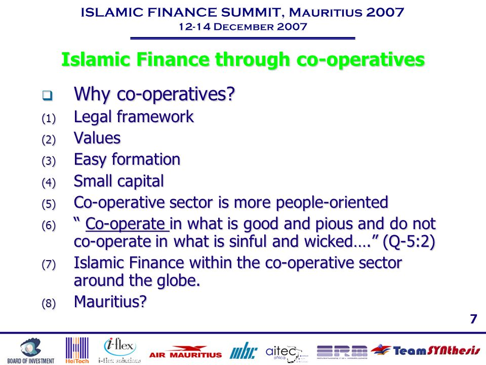 Islamic Finance through co-operatives