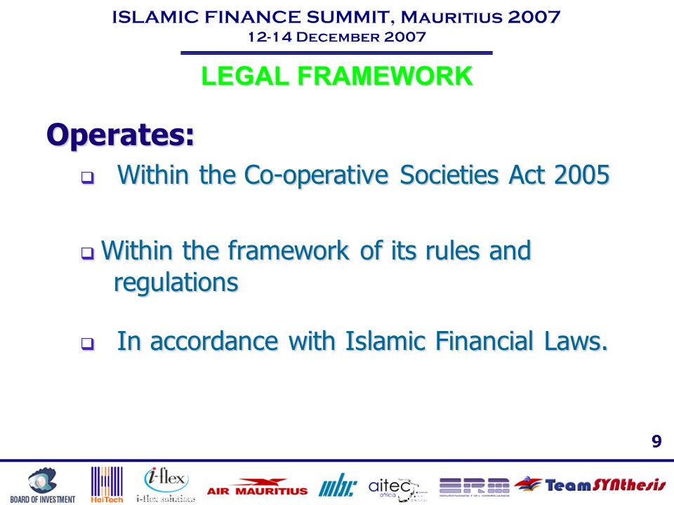 Operates: LEGAL FRAMEWORK Within the Co-operative Societies Act 2005
