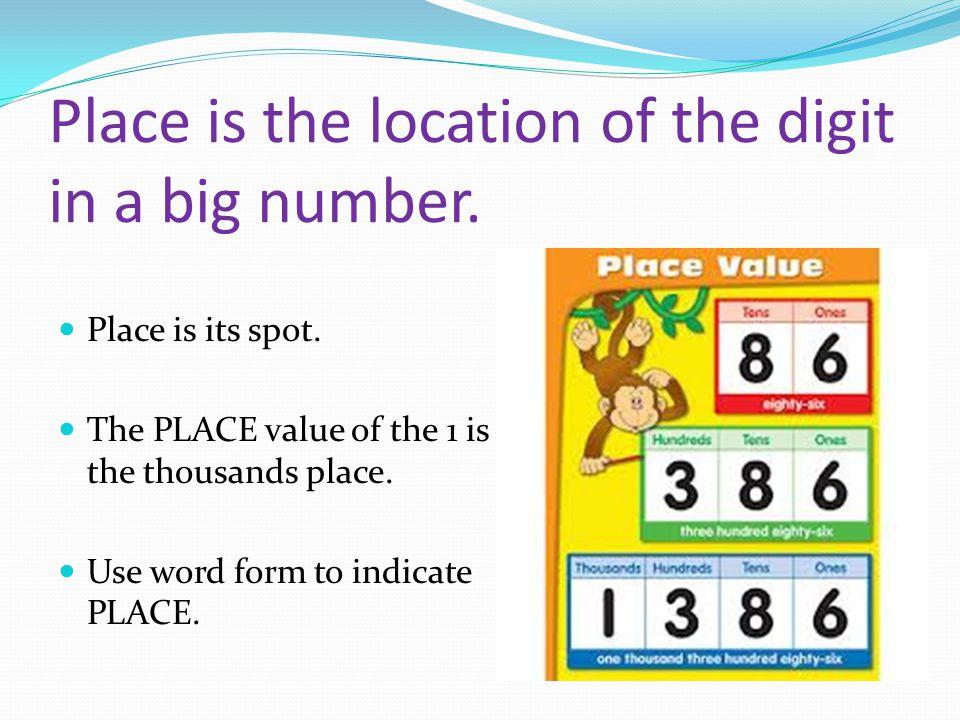 Place is the location of the digit in a big number.