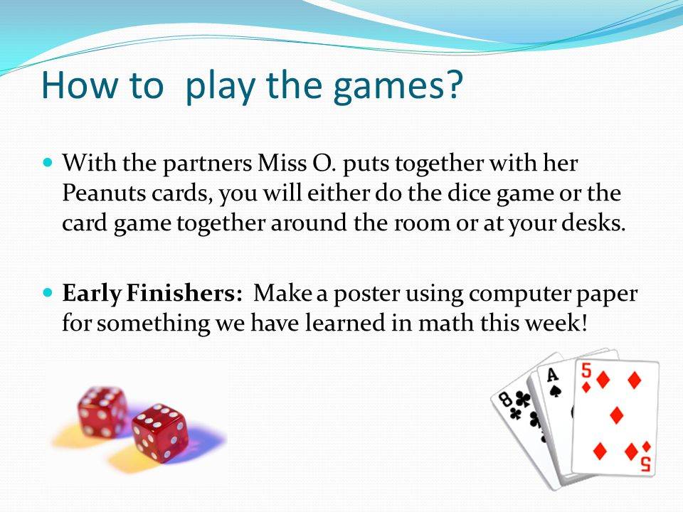 How to play the games