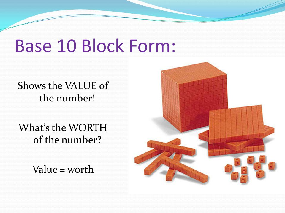 Base 10 Block Form: Shows the VALUE of the number! What's the WORTH of the number Value = worth