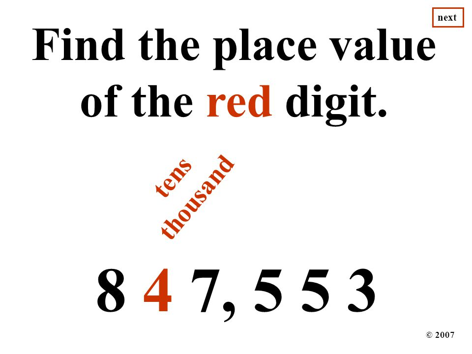 Find the place value of the red digit.