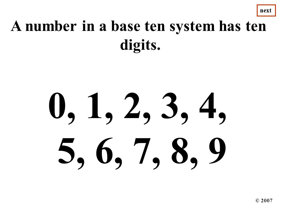 A number in a base ten system has ten