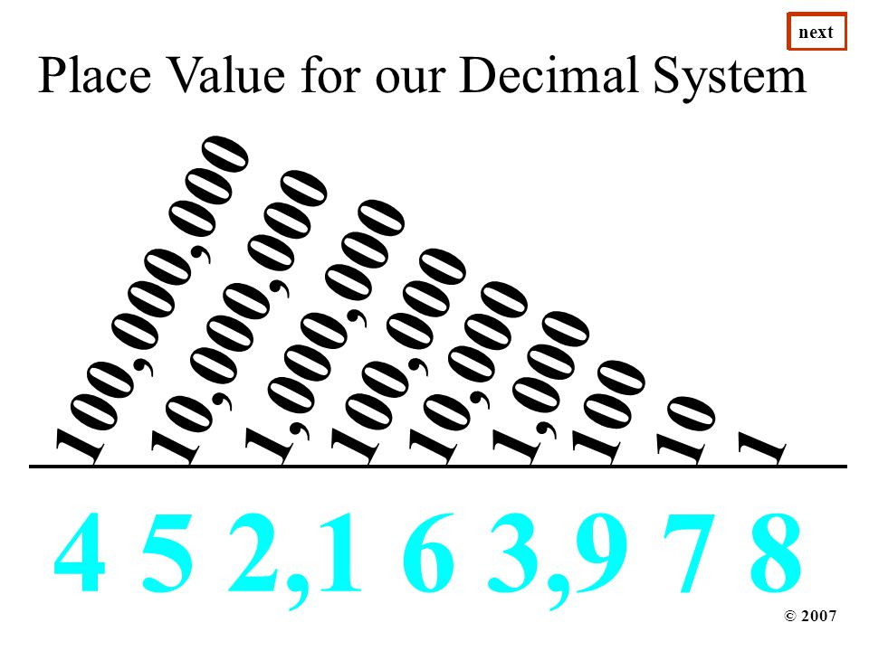 next next. next. next. next. next. next. next. next. next. next. Place Value for our Decimal System.