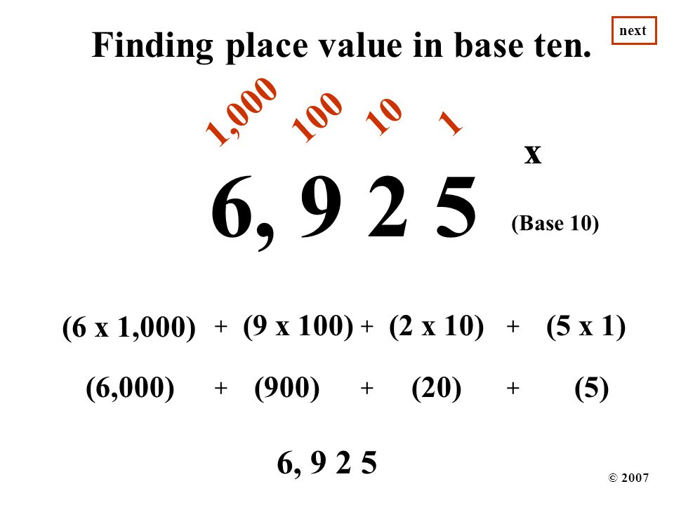 6, 9 2 5 Finding place value in base ten. 1,000 100 10 1 x x x