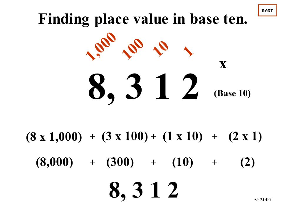 8, 3 1 2 8, 3 1 2 Finding place value in base ten. 1,000 100 10 1 x x