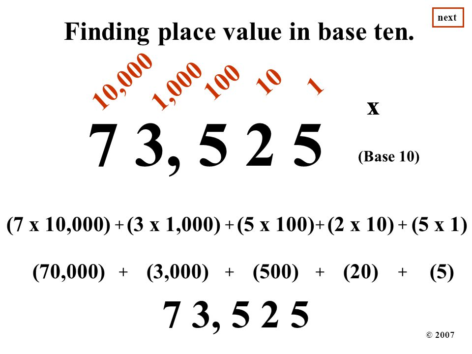 7 3, 5 2 5 7 3, 5 2 5 Finding place value in base ten. 10,000 100 10
