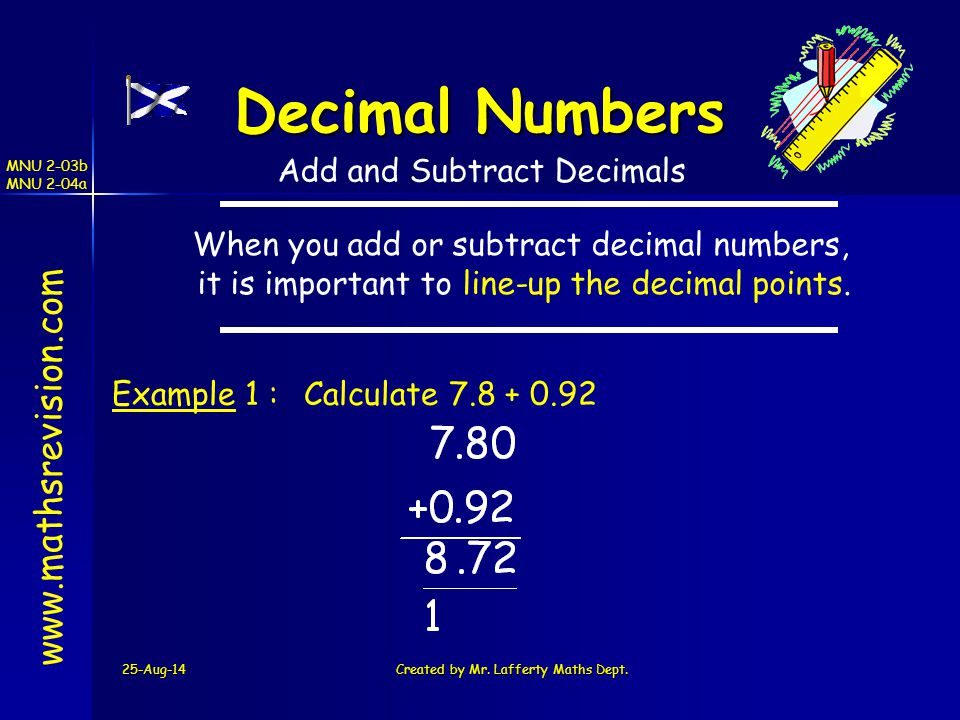 Decimal Numbers www.mathsrevision.com Add and Subtract Decimals