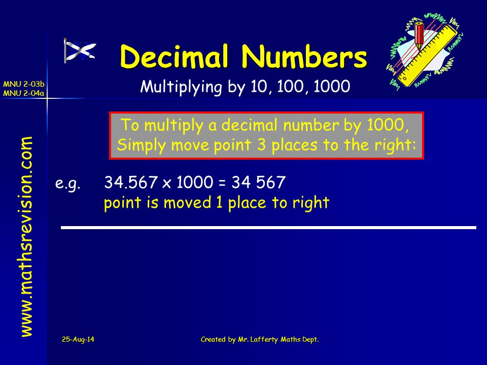 Decimal Numbers www.mathsrevision.com Multiplying by 10, 100, 1000
