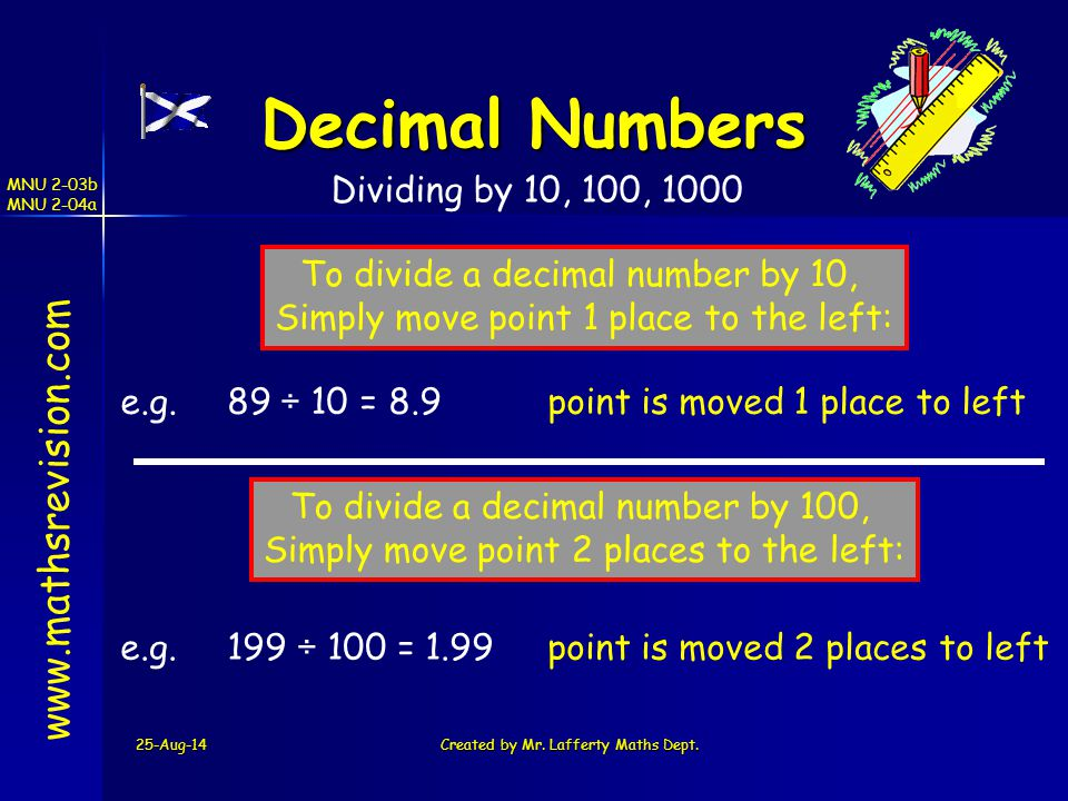Decimal Numbers www.mathsrevision.com Dividing by 10, 100, 1000