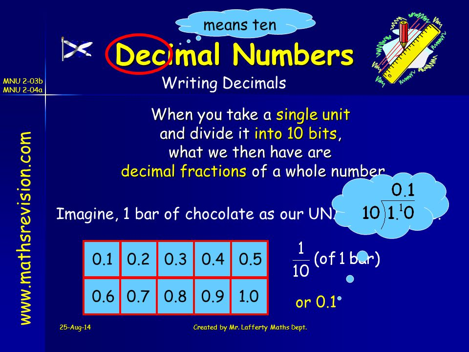 Decimal Numbers www.mathsrevision.com means ten Writing Decimals