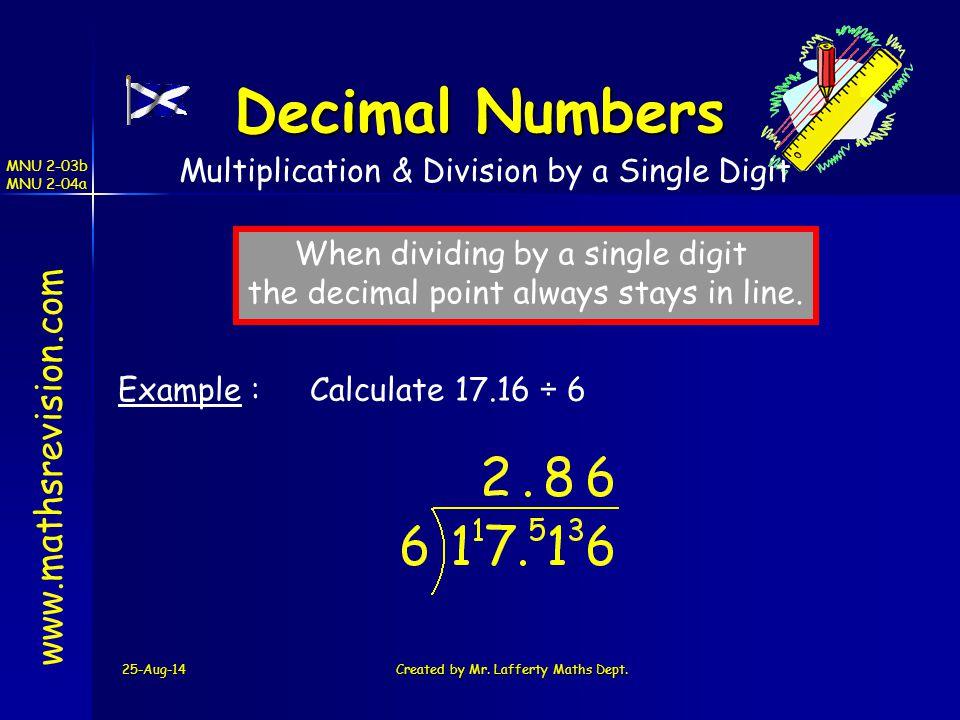 Decimal Numbers www.mathsrevision.com