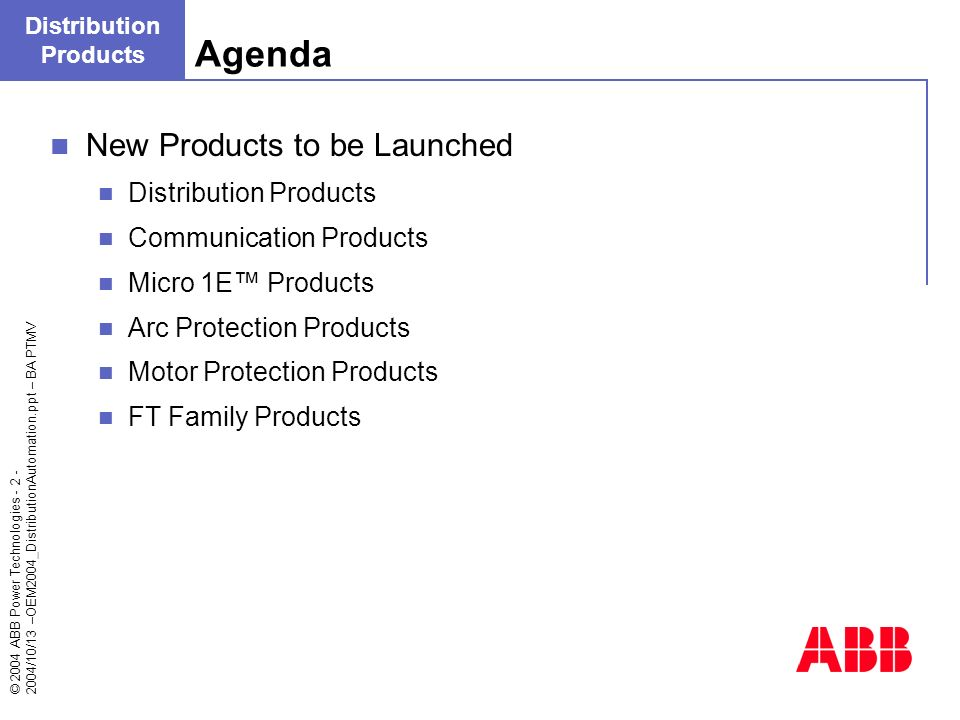 Agenda New Products to be Launched Distribution Products