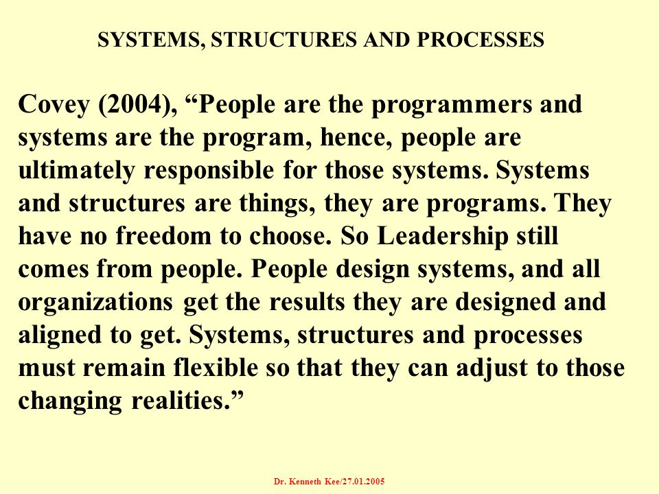 SYSTEMS, STRUCTURES AND PROCESSES