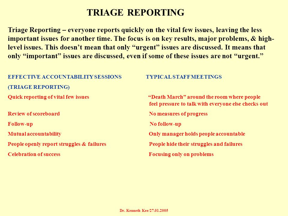 TRIAGE REPORTING