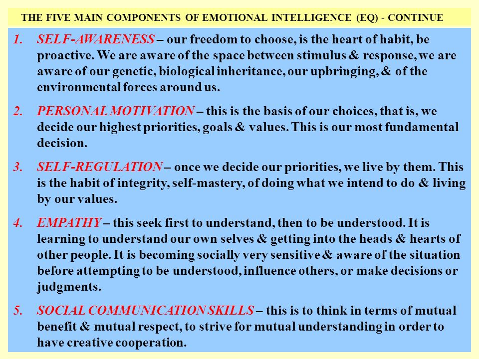 THE FIVE MAIN COMPONENTS OF EMOTIONAL INTELLIGENCE (EQ) - CONTINUE