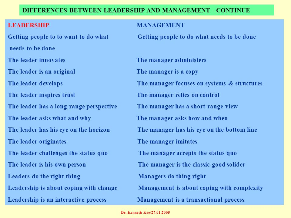 DIFFERENCES BETWEEN LEADERSHIP AND MANAGEMENT - CONTINUE
