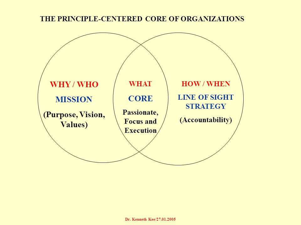 WHY / WHO MISSION (Purpose, Vision, Values) CORE
