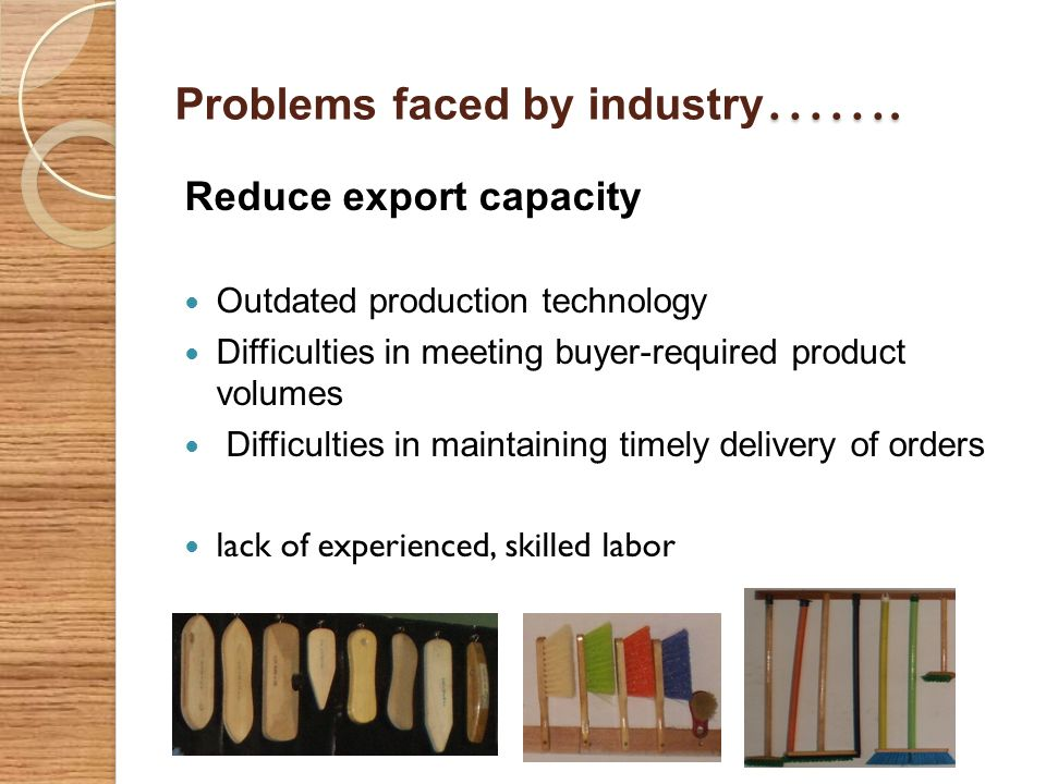 Problems faced by industry…….