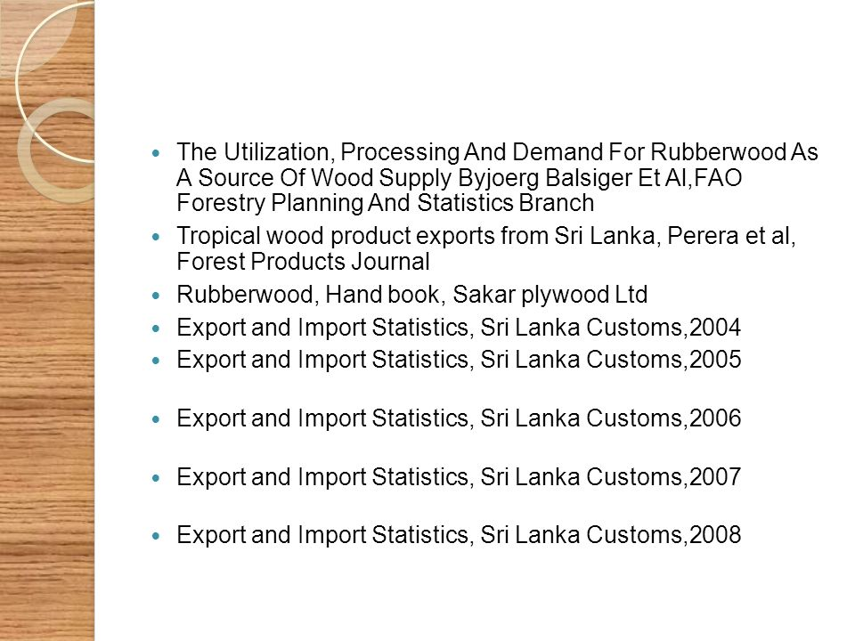 The Utilization, Processing And Demand For Rubberwood As A Source Of Wood Supply Byjoerg Balsiger Et Al,FAO Forestry Planning And Statistics Branch