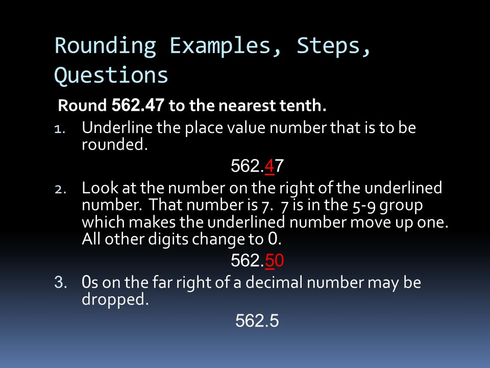Rounding Examples, Steps, Questions
