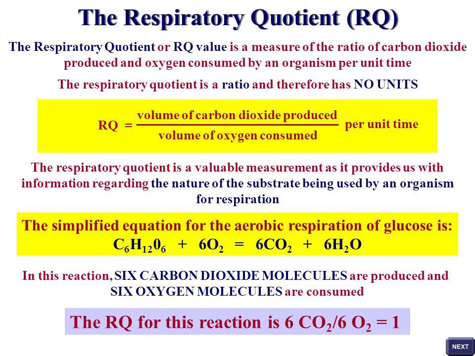 The Respiratory Quotient (RQ)
