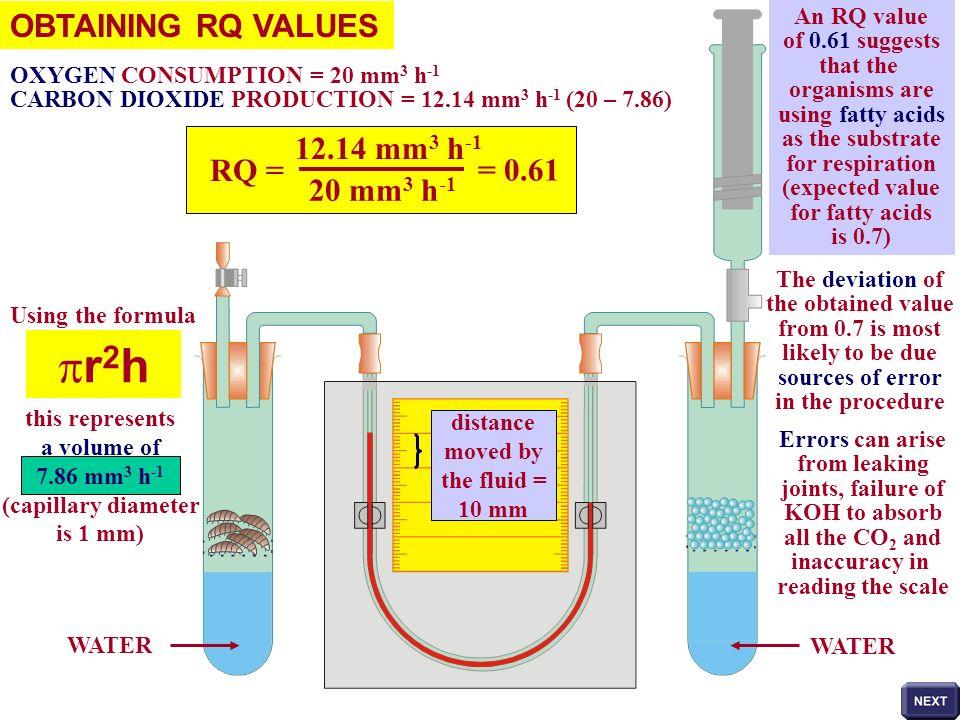 pr2h OBTAINING RQ VALUES 12.14 mm3 h-1 RQ = = 0.61 20 mm3 h-1