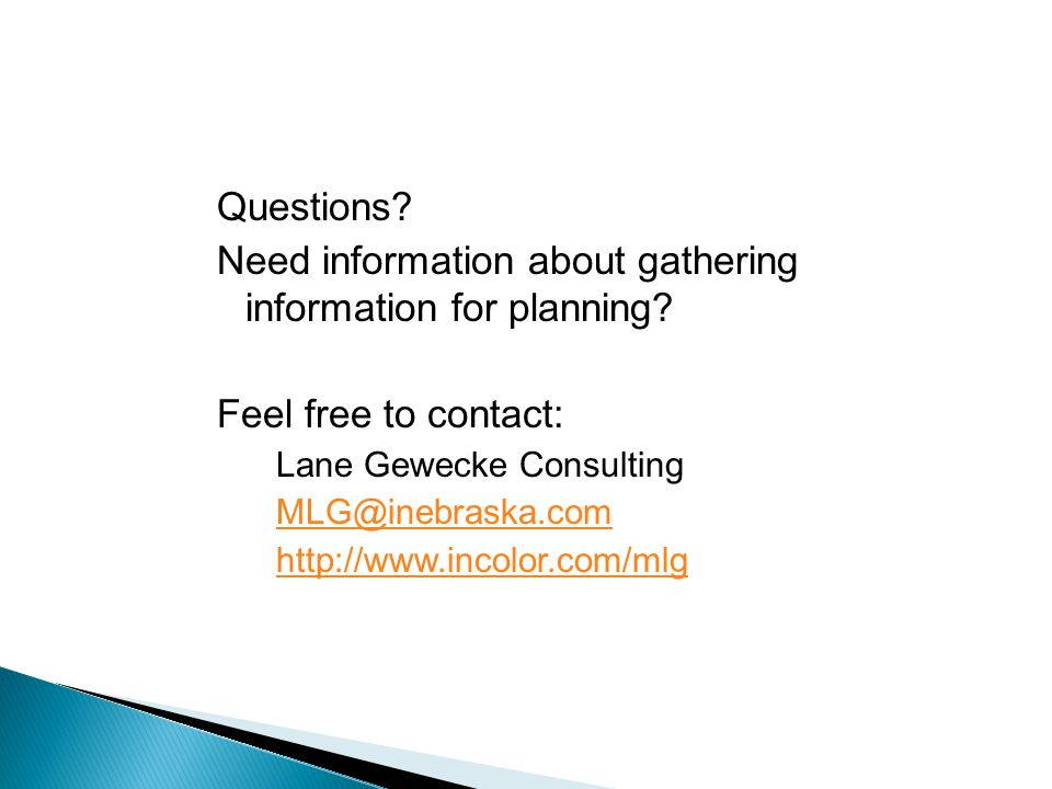 Need information about gathering information for planning