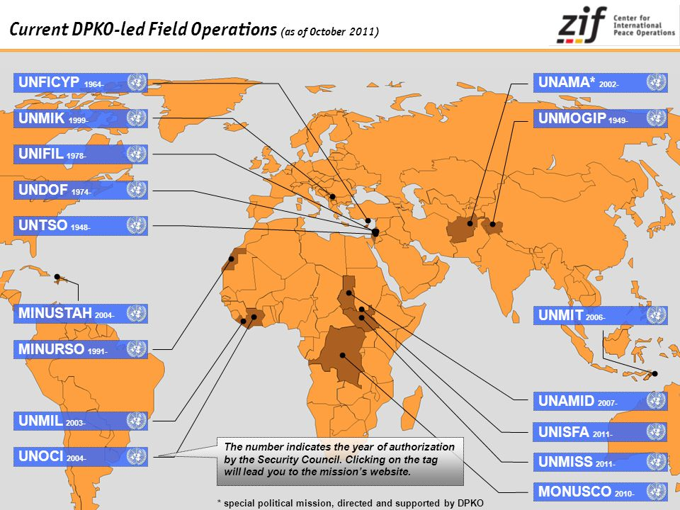 Current DPKO-led Field Operations (as of October 2011)