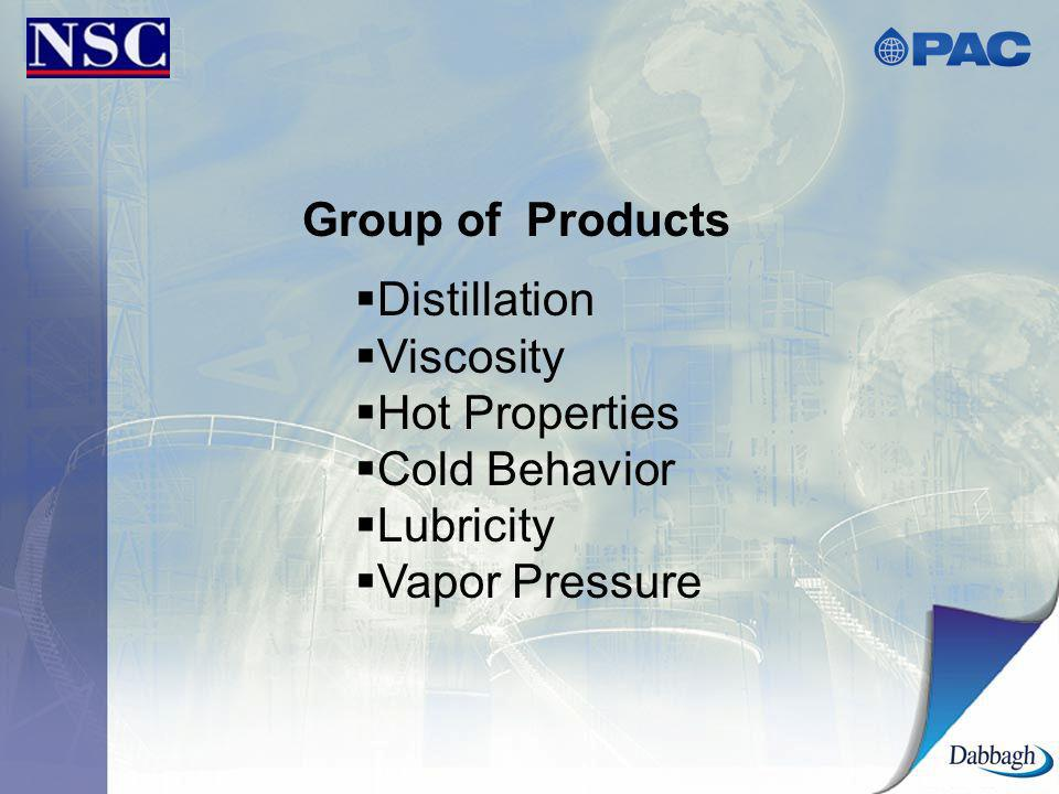 Group of Products Distillation Viscosity Hot Properties Cold Behavior Lubricity Vapor Pressure