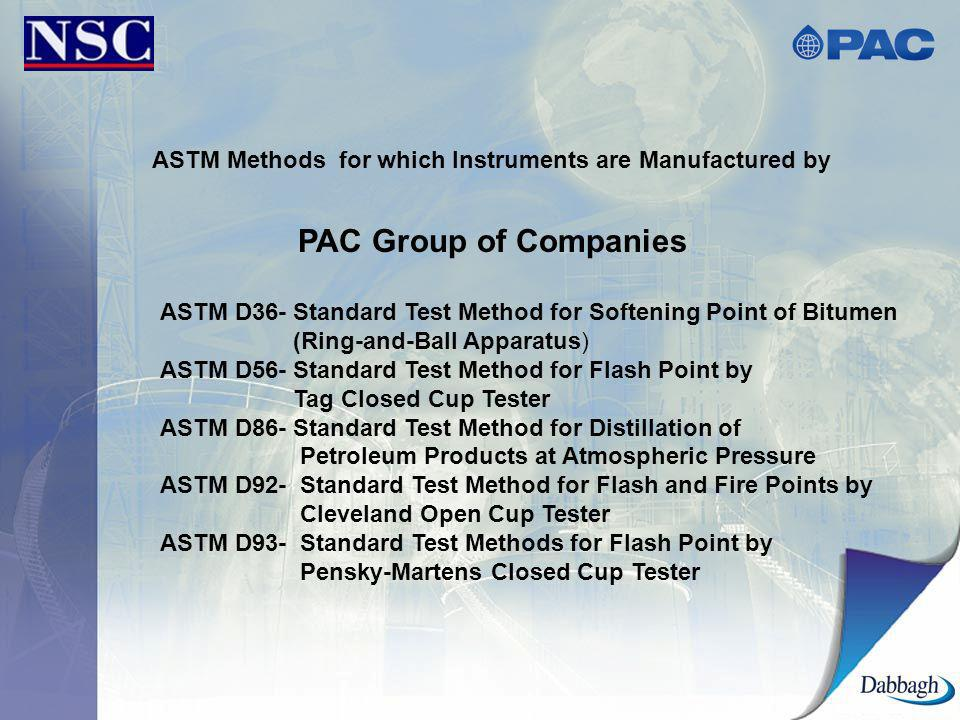ASTM Methods for which Instruments are Manufactured by