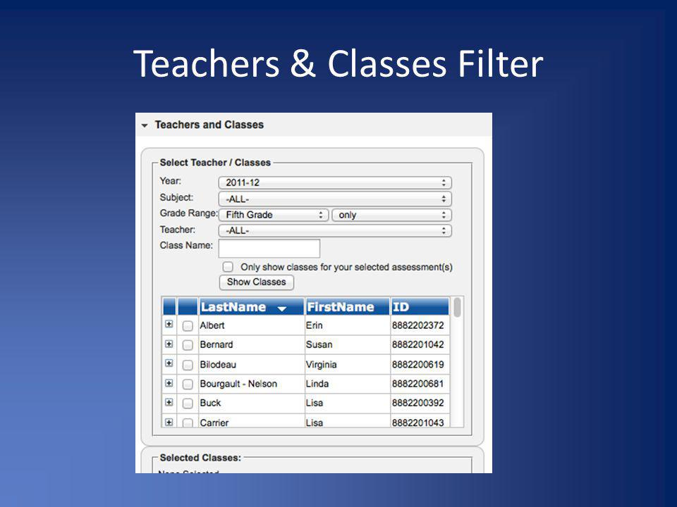 Teachers & Classes Filter