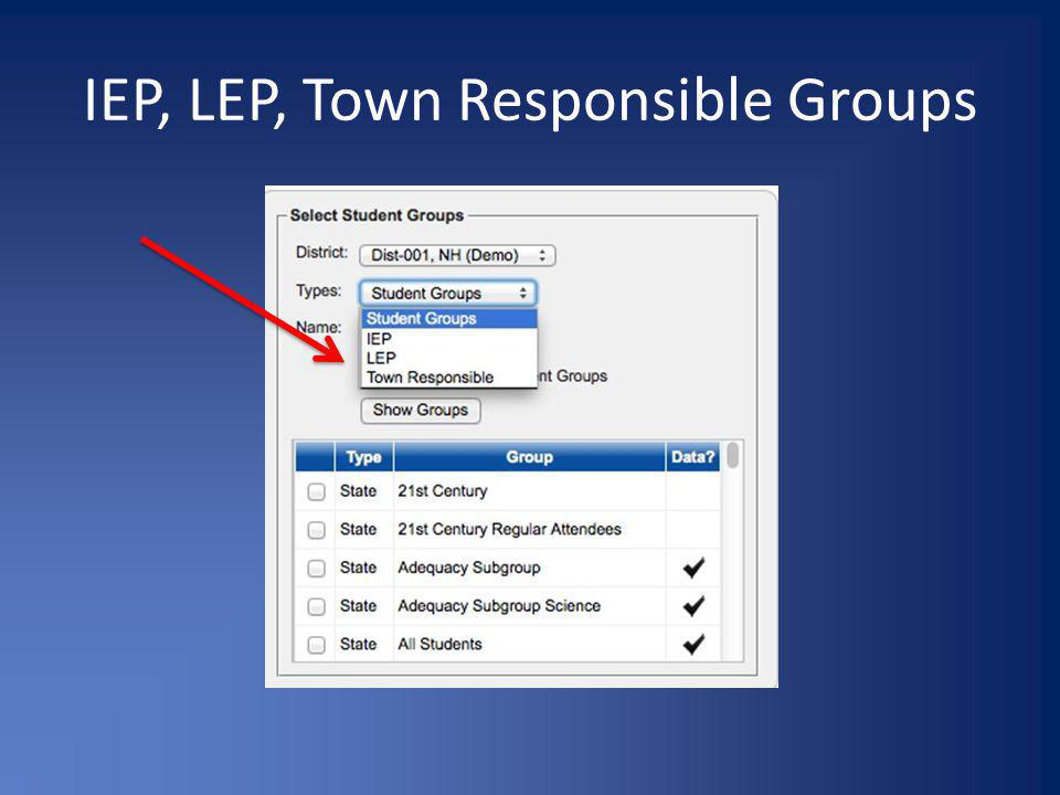 IEP, LEP, Town Responsible Groups