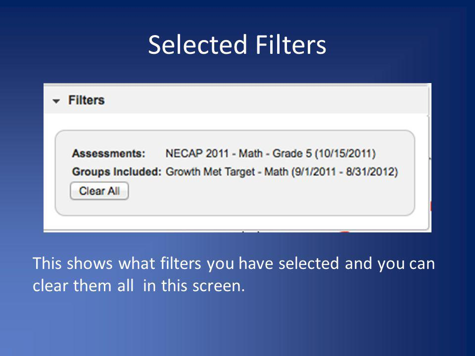 Selected Filters This shows what filters you have selected and you can clear them all in this screen.