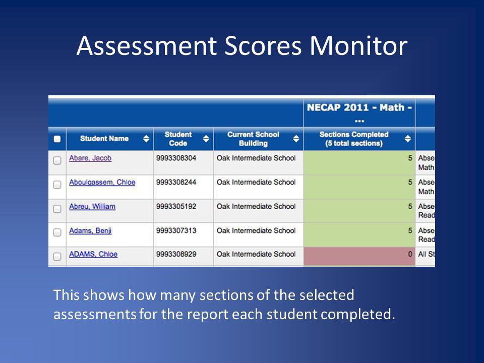 Assessment Scores Monitor