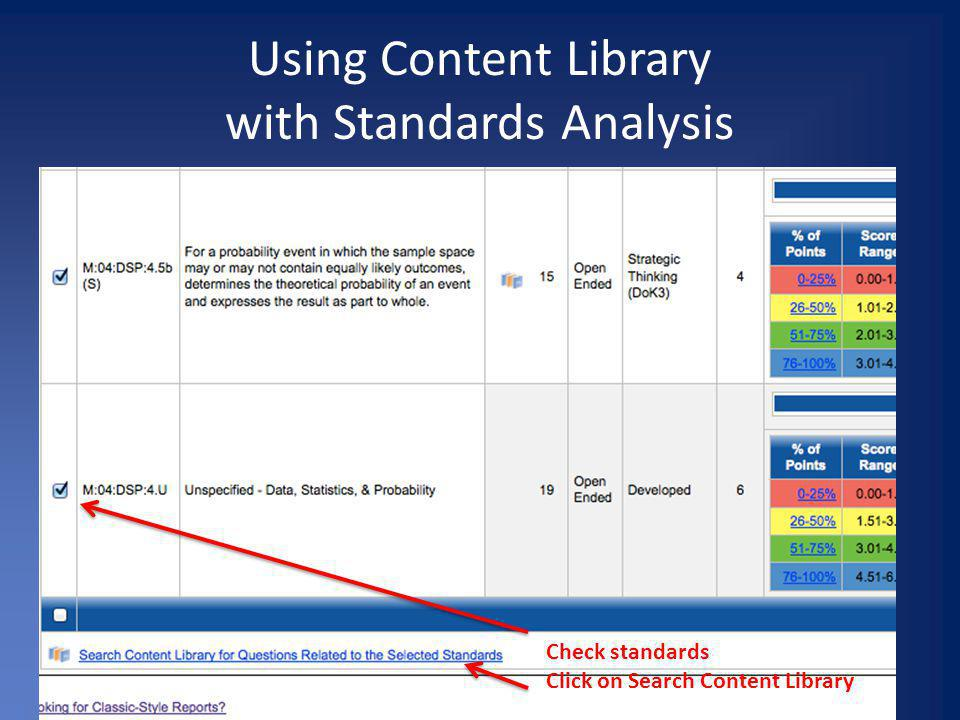 Using Content Library with Standards Analysis