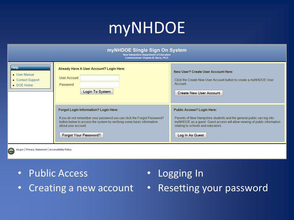 myNHDOE Public Access Logging In Creating a new account